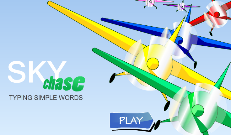 Sky Chase Typing Short Words