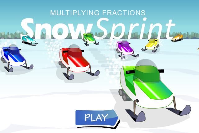 Snow Sprint Multiplying Fractions